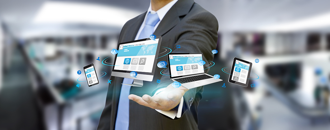 Businessman holding tech device in his hand